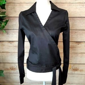 Banana Republic cotton black wrap shirt sexy M